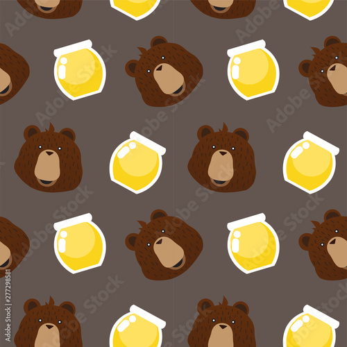seamless pattern happy bear Poster Mural XXL