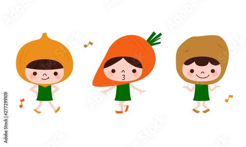 Fototapeta 野菜のイラスト。玉ねぎとにんじんとじゃがいものキャラクターたちが楽しく踊っている。 obraz