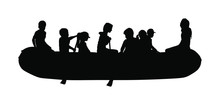 Happy Kids Rafting With Rubber Boat Vector Silhouette. Children Beach Fun. Girls And Boys Enjoying Rowing On River On Inflatable Boat. Friends Paddling. Childhood. Crew Outdoor Relaxing. Summer Active