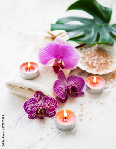 Photo Natural spa ingredients with orchid flowers