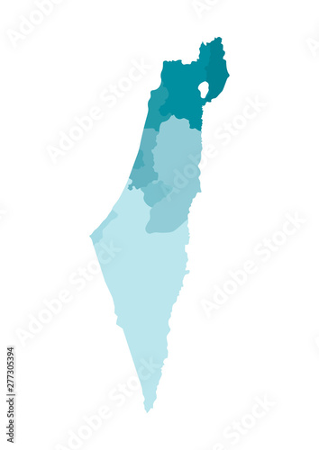 Obraz na plátně Vector isolated illustration of simplified administrative map of Israel