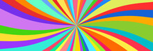 Kaleidoscope Banner, Abstract Background, Sun Of Colored Ribbons, Colorful Rays, Star Burst, Vector Illustration