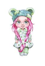 Cartoon Doll In Dress Isolated