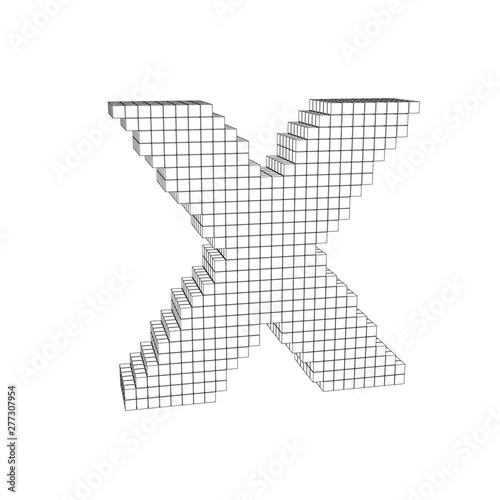 3d pixelated capital letter X  Vector outline illustration