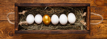 One Golden Egg Among Row Of Wh...