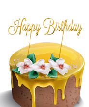 Happy Birthday Cake Vector Watercolor. Yellow Top. Golden Text And Flowers Decors