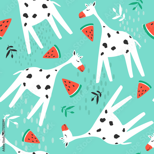 Giraffes, watermelons, leaves, hand drawn backdrop. Colorful seamless pattern with animals. Decorative cute wallpaper, good for printing. Overlapping background vector. Design illustration