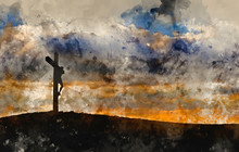 Digital Watercolour Painting Of Jesus Christ Crucifixion On Good Friday Silhouette