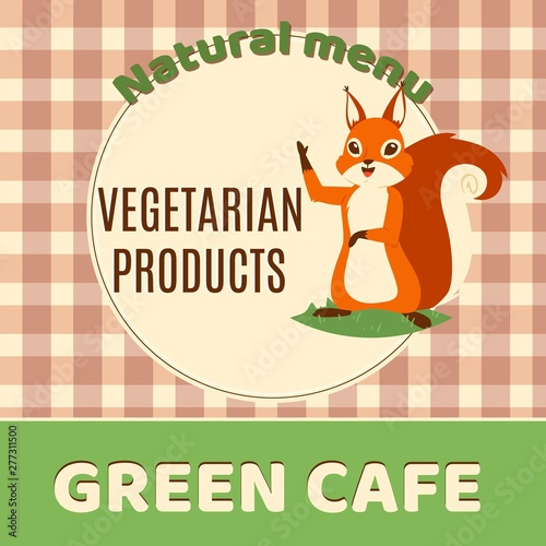 Squirrel green cafe banner vector illustration  Natural menu
