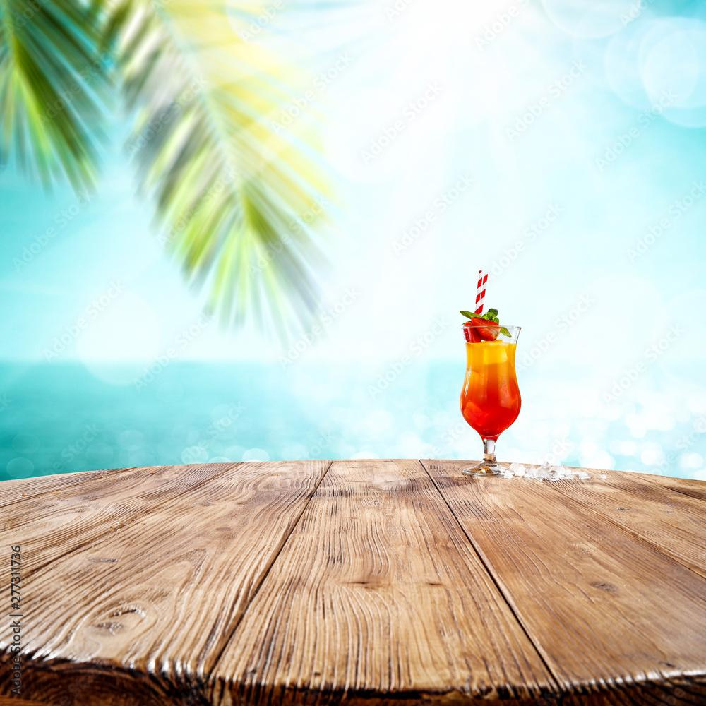 Fototapety, obrazy: Summer drink sunrise on desk and beach landscape