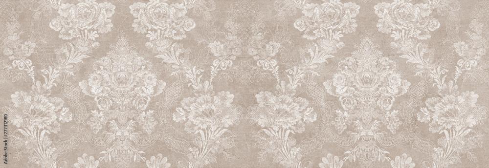 Fototapety, obrazy: vintage damask seamless pattern background