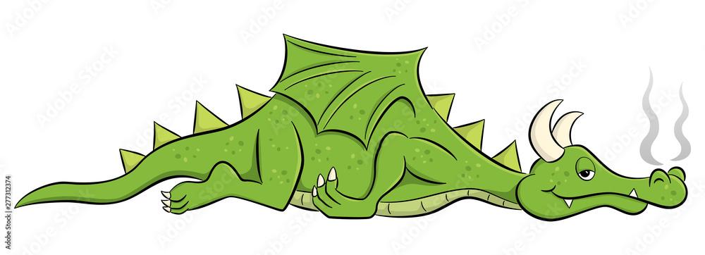 Fototapeta sleeping cartoon dragon