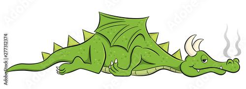 Fotografie, Tablou  sleeping cartoon dragon
