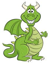 Embarrassed Grinning Cartoon Dragon