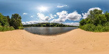 Full Spherical Seamless Hdri Panorama 360 Degrees Angle View On Sand Beach Near Forest Of Huge River In Sunny Day And Windy Weather With Beautiful Clouds In Equirectangular Projection, VR Content