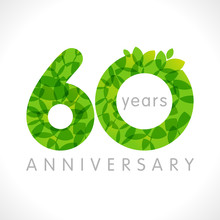 60 Th Anniversary Numbers. 60 Years Old Logotype. Age Congrats, Congratulation Idea With Leaves. Isolated Abstract Graphic Design Template. Herbal Digits, Up To 60% Percent Off Discount. Eco Label.