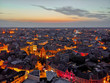 canvas print picture - Hasselt city center aerial view shortly after sunset, Limburg province, Belgium