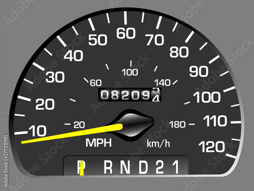 Vector illustration of a speedometer. Odometer Wallpaper Mural
