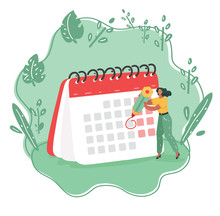 Woman With Calendar Schedule B...
