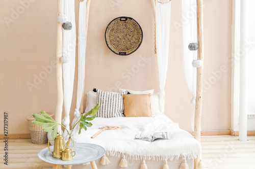 Poster Boho Stijl interior room made in white and beige colors in the style of boho