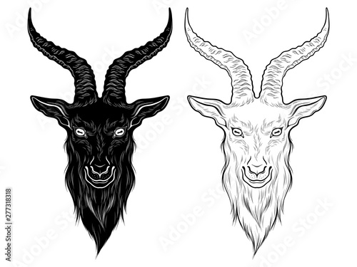 Photo Baphomet demon goat head hand drawn print or blackwork flash tattoo art design vector illustration