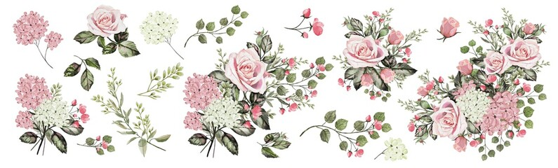 Fototapeta Róże Drawing with watercolor Bouquet of roses and buds. Botanical illustration. Composition of pink roses and garden herbs.