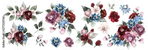 Flower set. Blue flowers,pink and Burgundy roses,twigs,leaves,rose composition, flower frame with roses . Watercolor invitation design.Postcards with flowers. Wedding.