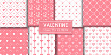 Valentine Hearts Seamless Pattern Set, Decorative Wallpaper.