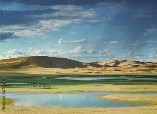 Photo sand dunes of  lake Durgen Nuur
