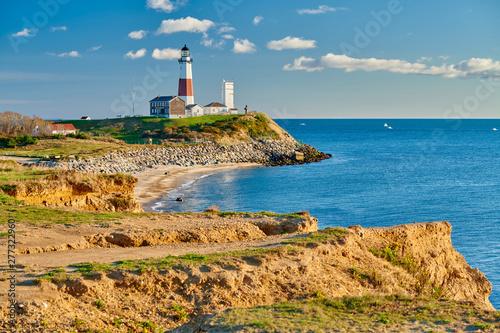 Garden Poster Montauk Lighthouse and beach, Long Island, New York, USA.