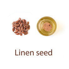 Linen Seeds And Linen Raw Oil Isolated On White Background - Creative Layout. Heap Of Flax Seeds And Raw Flax Seed Oil In Small Glass Bottle Isolated On White With Clipping Path, Top View Or Flat Lay