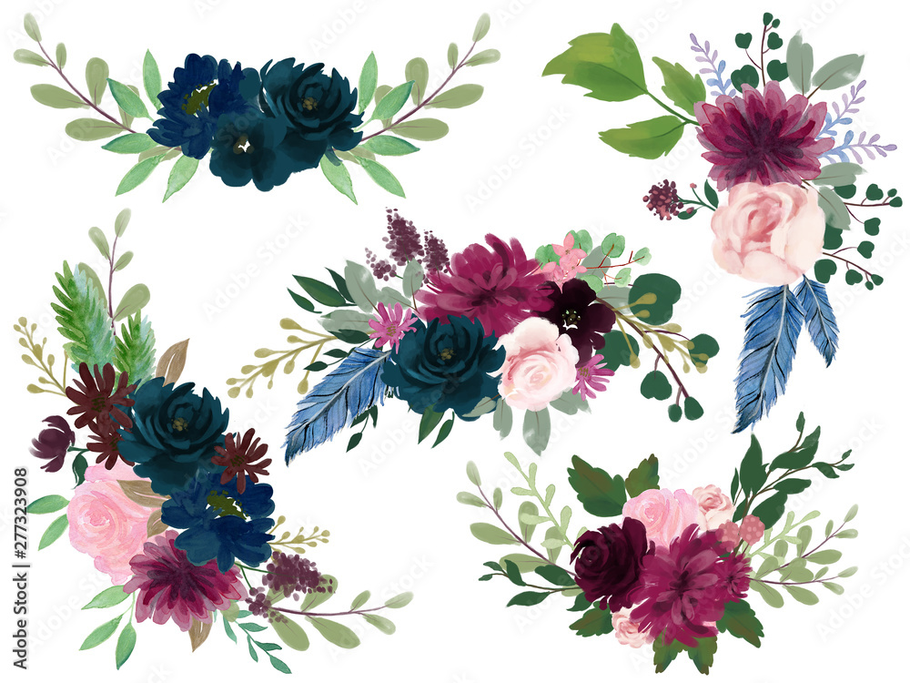 Fototapety, obrazy: Watercolor Bohemian floral composition Pink wine Marsala and Navy blue Floral Bouquet
