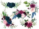 Fototapeta Kwiaty - Watercolor Bohemian floral composition Pink wine Marsala and Navy blue Floral Bouquet