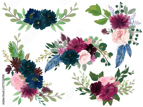 Watercolor Bohemian floral composition Pink wine Marsala and Navy blue Floral Bouquet