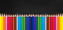 Row Of Colorful Wooden Pencils...