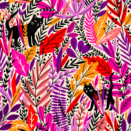 Deurstickers Paradijsvogel Vector seamless pattern with cats and tropical leaves.