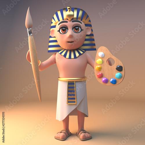 Valokuva  Artistic ancient Egyptian pharaoh Tutankhamun holding a paintbrush and palette,