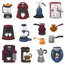 Coffee Machine Vector Coffeemaker And Coffee-machine For Espresso Drink With Caffeine In Cafe Illustration Set Of Professional Equipment Coffee-pot Coffeecup Isolated On White Background