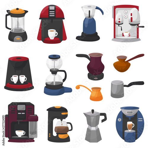 Coffee machine vector coffeemaker and coffee-machine for espresso drink with caf Fototapet