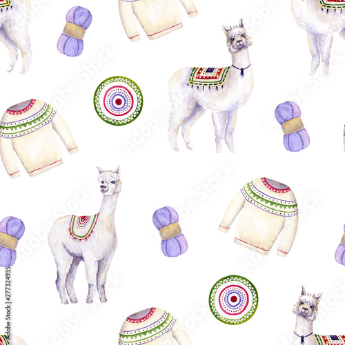 Autocollant pour porte Des Illustrations Seamless pattern of watercolor alpacas, yarn, sweater, mat. Colorful illustration isolated on white. Hand painted template perfect for kids wallpaper, interior design, fabric textile, cases, posters