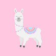 Cute hand drawn white, grey llama with patterned fringed blanket. Cute furry llama or alpaca animal vector illustration. Isolated on pink background.