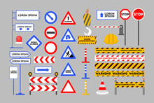 Warning Road Sign Set. Orange Barrier And Red Cone Symbol