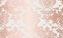 Damask Pink Gold Ornament Patt...