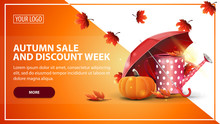 Autumn Sale And Discount Week, Discount Web Banner Template For Your Website In A Modern Style With Garden Watering Can, Umbrella And Ripe Pumpkin