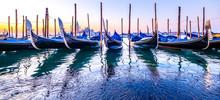 Typical Gondolas In Venice - Italy