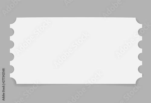 Fotomural  Paper blank ticket on grey background. Vector illustration.