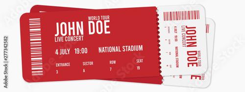 Concert ticket vector template Canvas Print