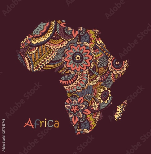 Textured vector map of Africa Wallpaper Mural