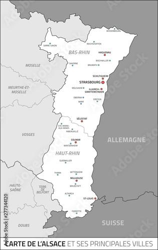Carte Alsace Vector.Carte De La Region Alsace Et Ses Principales Villes Fichier
