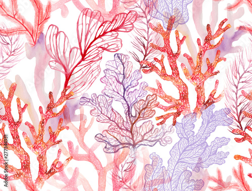 Watercolor corals. Seamless pattern with the underwater world Fototapeta